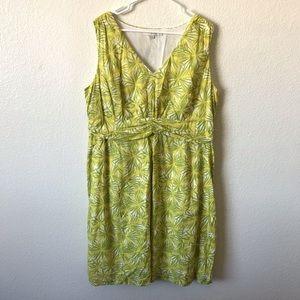 BODEN leaf print v-neck dress